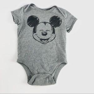 "Grey ""Mickey mouse"" onesie"